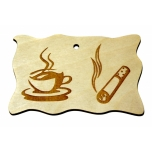 "Plywood sign ""Coffee mug + cigarette"" Small"