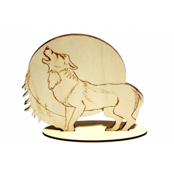 Howling wolf on a base