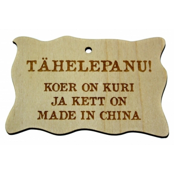 """Plywood Sign """"...kett on Made in China"""" Small VS33"""