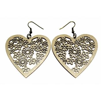 """Earrings """"Heart with flowers"""" KÕ66 Thin"""