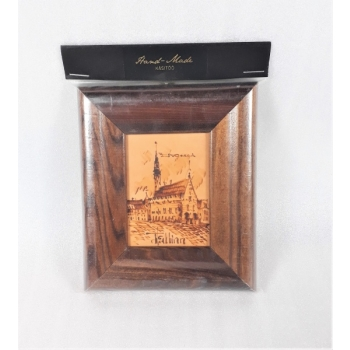 Picture of Tallinn in a leather wooden frame