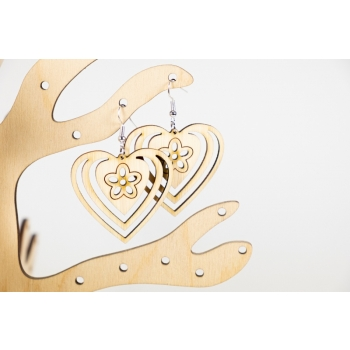 Earring heart with flower KÕ80 bamboo