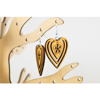 Earring heart with flower KÕ80 bamboo