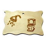 """Plywood sign """"Shower + toilet"""" Small VS03"""