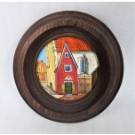 Oil picture Tallinn in a wooden frame round