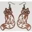 "Earrings ""Sitting fox"" Thin Ebonized"